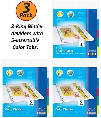 3 Pack - 3-ring Binder Dividers With 5-insertable Color Tabs Fits In Ring Binder