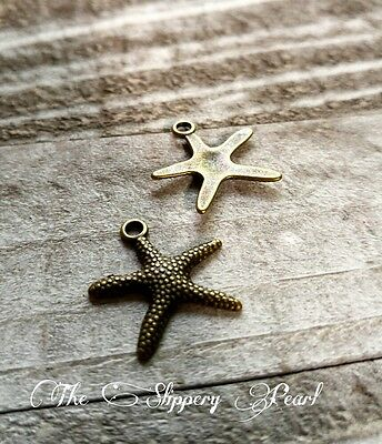 10 Starfish Charms Antiqued Bronze Nautical Pendants Ocean Set (Nautical Starfish Charms)