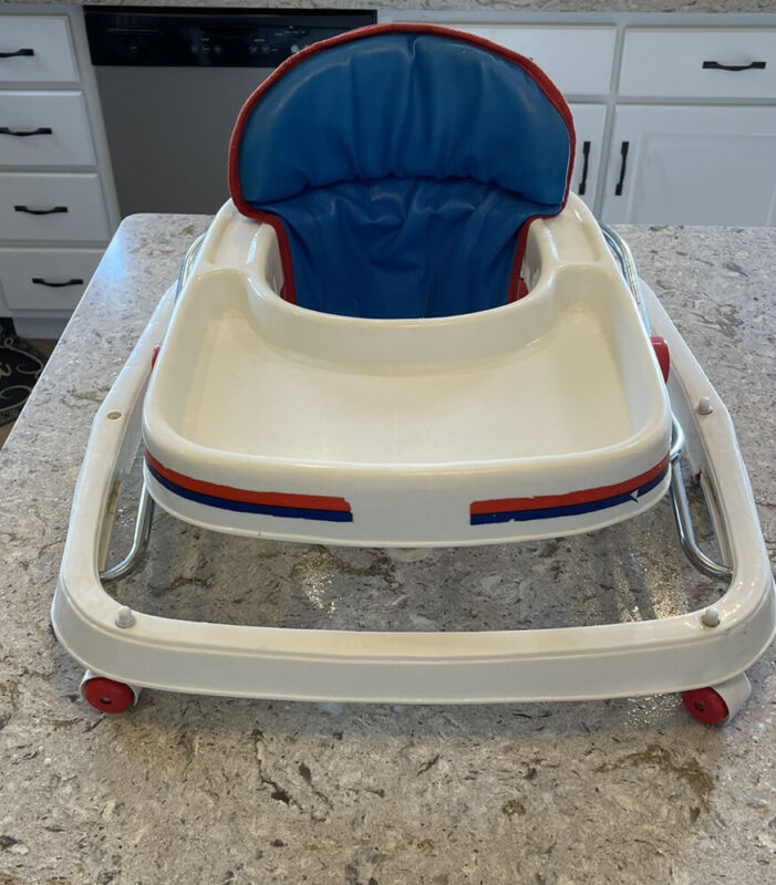 vintage 1960s baby walker red white blue welsh company mint conditon rare
