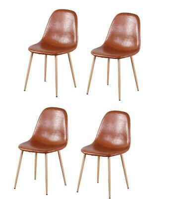 Set di 4 sedie da pranzo in metallo retrò scandinavo vintage con cucina marrone