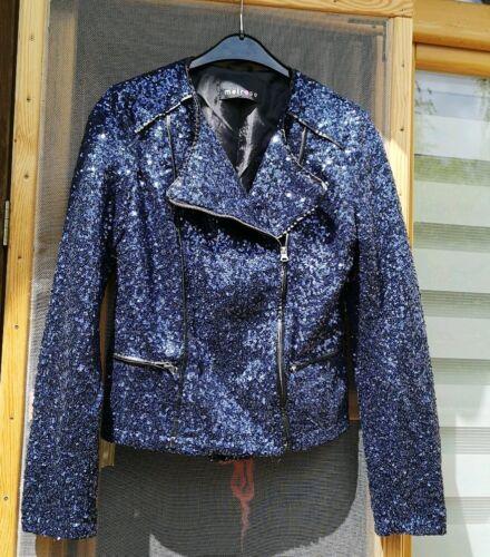 Jacke Blazer Bikerjacke Damenjacke Pailetten Blau  34 36 Jacke Melrose
