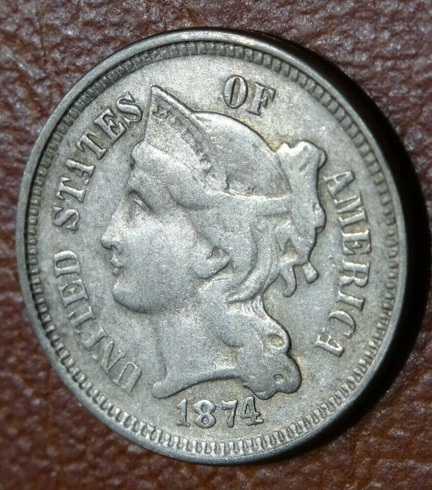 Scarce 1874 NICKEL THREE CENT PIECE Coin Old American 3CN Money Collection  - $9.00