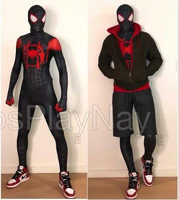 Miles Morales Into Spider Verse Cosplay Costume Spiderman Tights Suit Christmas - Spiderman Cosplay