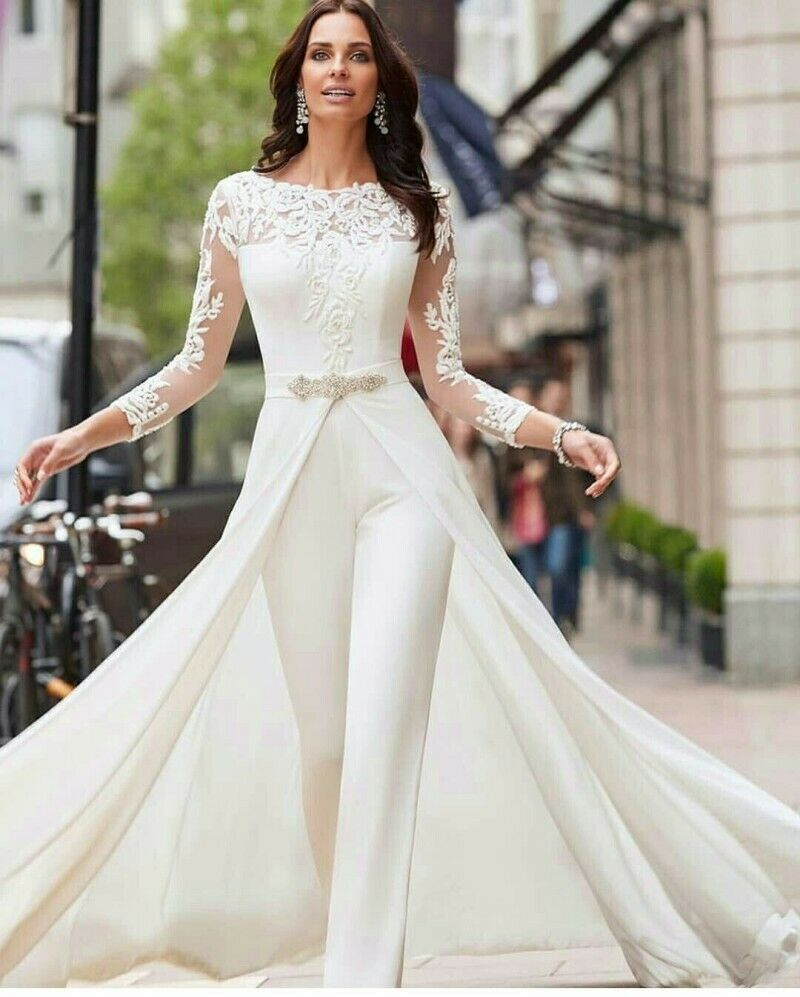 Details about Wedding Dresses With Pants White Ivory Long Sleeves Lace  Satin Custom plus size