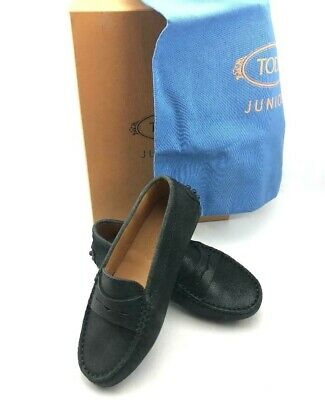 TOD'S JUNIOR Unisex Gommino Moccasins in Black Distressed Suede US SZ 11 - NEW!