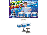 NEW TOYRIFIC MY FIRST DRUM SET KIT CHILDRENS KIDS TOY WITH DRUMS STOOL AND STICKS