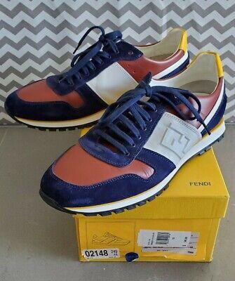 FENDI Men's Tricolor Low Top Sneakers 7E0778 Terracotta Yellow White Sz 10 $545