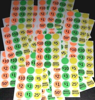 360 Yard Garage Rummage Flea Market Sale Price Tag Sticker Label Blank Free Ship