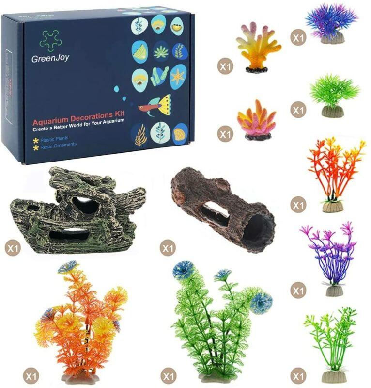11 Pack Aquarium Fish Tank Decorations Accessories Cave Decor Set
