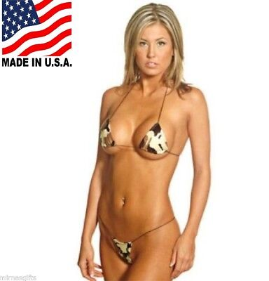 WOMANS CAMOUFLAGE BIKINI SUIT PRINT CAMO MICRO STRING TRIANGLE TOP STRING THONG