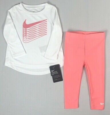 Infant Baby Girl's Nike Dri-Fit Dry Shirt and Leggings 2 Piece Set Outfit