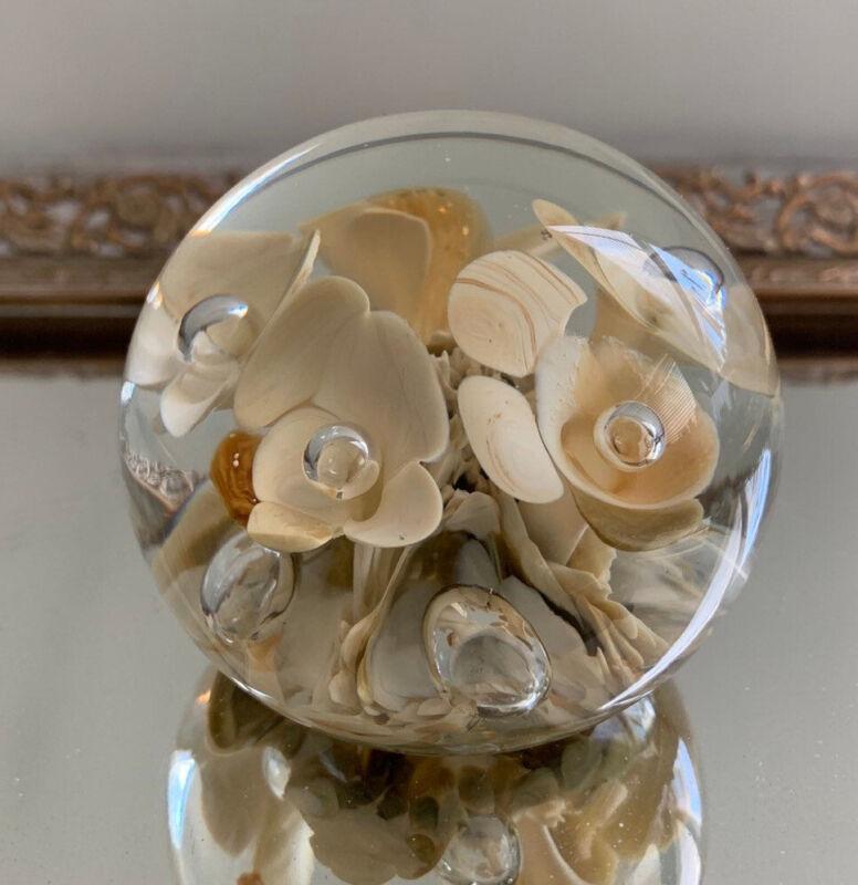 ART GLASS VINTAGE Maude Bob ST. CLAIR TRUMPET FLOWERS SIGNED BUBBLE PAPERWEIGHT