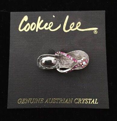Austrian Crystal Flip Flop - Cookie Lee Pink Genuine Austrian Crystal Flip Flop Pin NWT