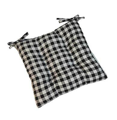 Black Plaid Gingham  Tufted Seat Cushion for Kitchen Dining