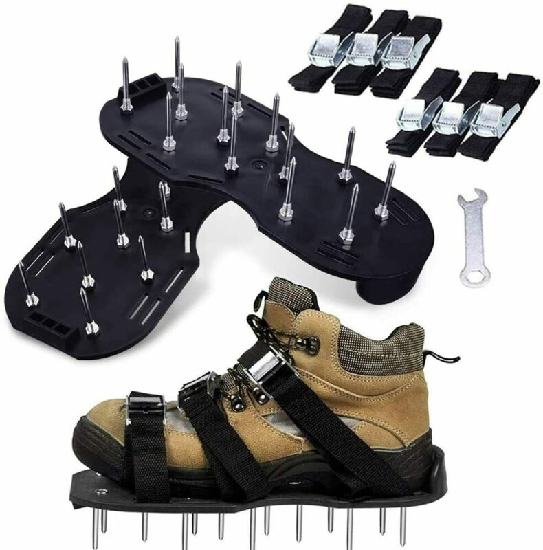 Lawn Aerator Shoes Lawn Spikes Shoes 3 Adjustable Straps Garden Aerating Tool