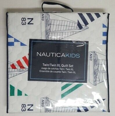 Nautica Sailboat Checkers 100% Cotton Quilt Set (Reversible To Green Checkers)