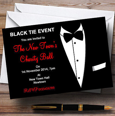 Red & White Black Tie Tuxedo Personalised Party Invitations