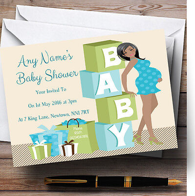 Blue And Green Mum To Be Personalised Baby Shower Invitations (Green And Blue Baby Shower)