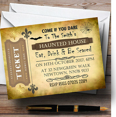Scary Ticket Personalised Halloween Party Invitations Halloween Party Ticket