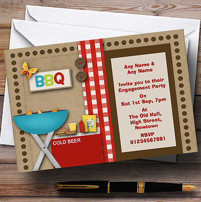 Bbq Theme Engagement Party Personalised Invitations