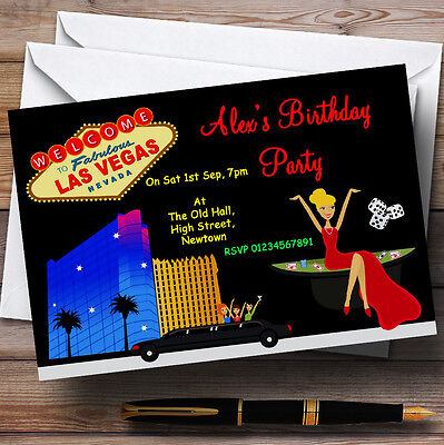 Casino Las Vegas Theme Personalised Birthday Party Invitations - - Las Vegas Themed Birthday Invitations