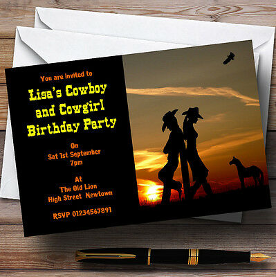 Cowboy And Cowgirl At Sunset Theme Personalised Birthday Party - Cowgirl Birthday Party Theme