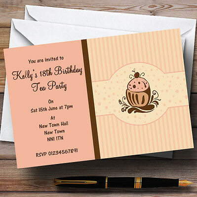 Chocolate Cupcake Vintage Tea Personalised Party Invitations ()