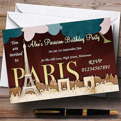 Paris Chic Parisian Theme Personalised Birthday Party Invitations - Th54