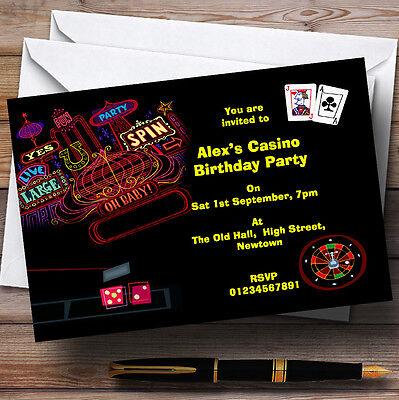 Las Vegas Casino Theme Personalised Birthday Party Invitations - - Las Vegas Themed Birthday Invitations