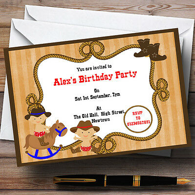 Western Cowboy Theme Personalised Birthday Party Invitations - Th97 - Western Themed Parties