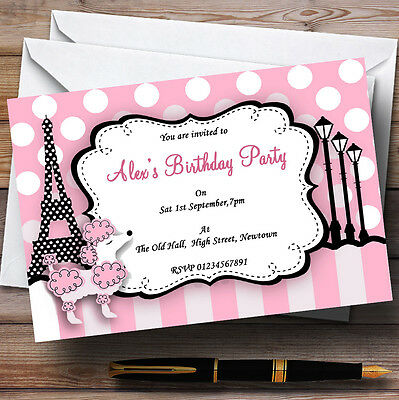 Poodle Birthday Party Invitations (Pink Poodle Paris Theme Personalised Birthday Party Invitations -)