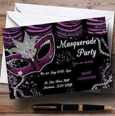 Masquerade Purple Personalised Birthday Party Invitations -