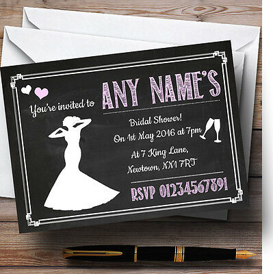 Chalkboard Pink Personalised Bridal Shower Party Invitations - Chalkboard Bridal Shower Invitations