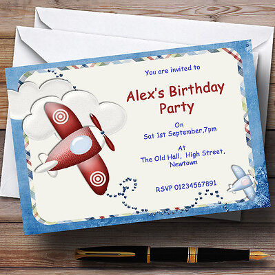 Airplane Themed Birthday Party (Aeroplane Blue Red Plane Theme Personalised Birthday Party Invitations -)