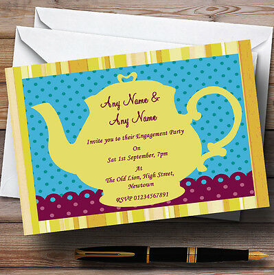 Big Yellow Teapot Vintage Engagement Party Personalised Invitations - Teapot Invitations