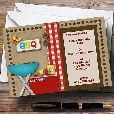 Birthday Bbq Theme Personalised Birthday Party Invitations - Th9