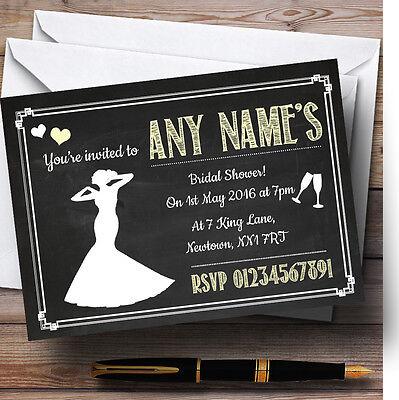 Chalkboard Yellow Personalised Bridal Shower Party Invitations - Chalkboard Bridal Shower Invitations