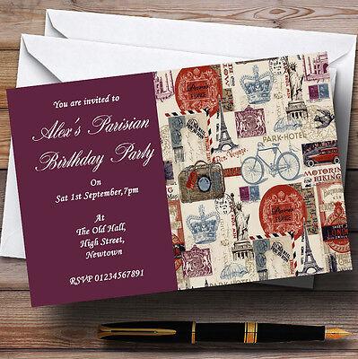 Parisian Chic Paris Theme Personalised Birthday Party Invitations - Th55