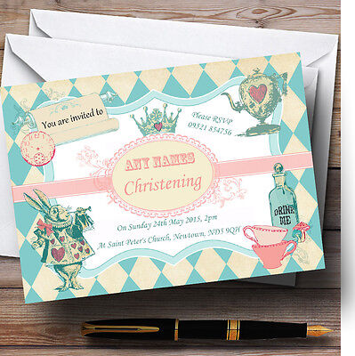 Alice In Wonderland Mad Hatters Tea Christening Party Personalised Invitations - Alice In Wonderland Party Invitations