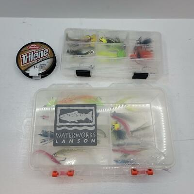 WaterWork Lamson Boogle Bug Lot of 34 pc Assorted Flies Bait Lures Fly Fishing