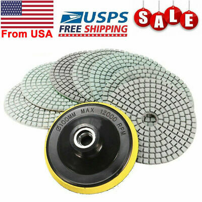 Diamond Polishing Pads 4 Inch Wetdry 8 Piece Set Granite Stone Concrete Marble