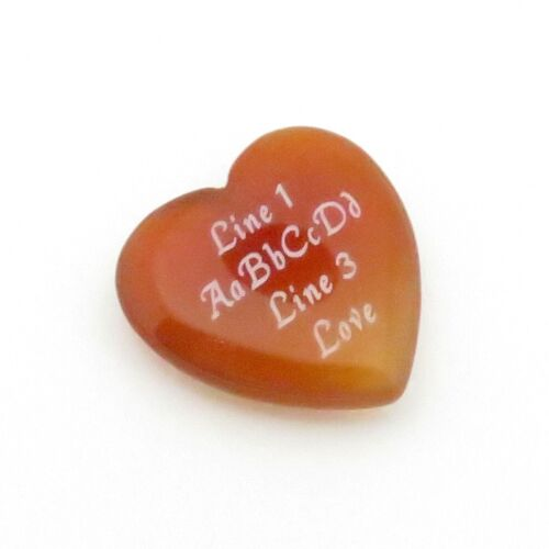 Custom Engraved Red Agate Heart - LOVE STONES - 25 mm or 1 inch Personalized