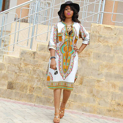 Dashiki Dresses Traditional African Dress For Women Clothing  V Neck White