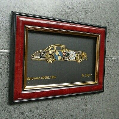 Mercedes 300SL 1952 Mixed Art Watch Parts Collage Framed Picture Signed G Lebner