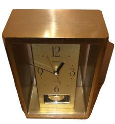 Vintage Seiko Spinning Pendulum  battery Quartz Brass / Glass  Mantle Clock