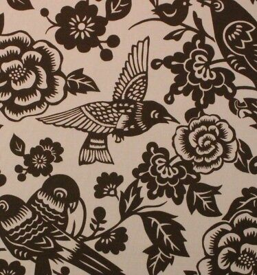 "DURALEE AVIARY EARTH BROWN LARGE BIRD FLORAL DESIGN MULTIUSE FABRIC BY YARD 54""W"