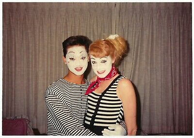 Vintage 80s PHOTO Young Couple in Performance Costumes w/ Face Makeup - 80s Couples Costumes