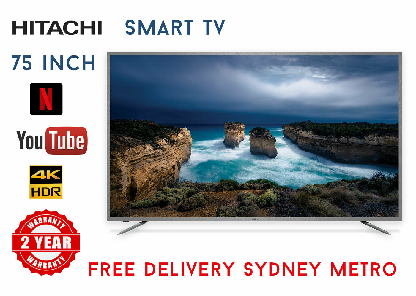 afc3580f313 Details about BRAND NEW HITACHI 75 INCH 4K UHD LED SMART TV NETFLIX SLIM  LINE HDR AIR MOUSE