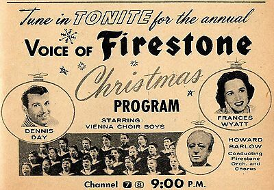 1958 TV AD~VOICE OF FIRESTONE CHRISTMAS~FRANCES WYATT~HOWARD BARLOW~DENNIS DAY