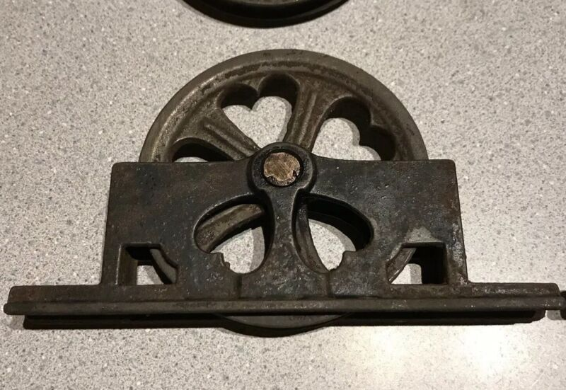 Set Of 4 Antique Industrial Barn Pulleys Cast Iron Heart Cutouts Hanging Lights